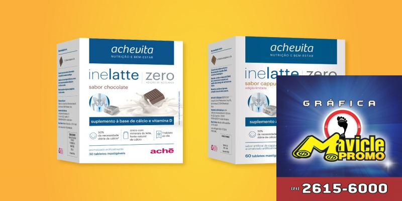 Ache apresenta Inelatte, suplemento em comprimidos mastigáveis   Guia da Farmácia   Imã de geladeira e Gráfica Mavicle Promo